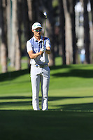 Haotong Li (CHN) prepares to play his 2nd shot on the 3rd hole during Saturday's Round 3 of the 2018 Turkish Airlines Open hosted by Regnum Carya Golf &amp; Spa Resort, Antalya, Turkey. 3rd November 2018.<br /> Picture: Eoin Clarke | Golffile<br /> <br /> <br /> All photos usage must carry mandatory copyright credit (&copy; Golffile | Eoin Clarke)