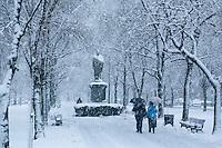 Snow storm,Commonwealth Avenue, Back Bay, Boston, MA  Winter