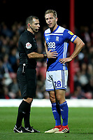 Referee, Tim Robinson, has a few words with Birmingham captain, Michael Morrison during Brentford vs Birmingham City, Sky Bet EFL Championship Football at Griffin Park on 2nd October 2018