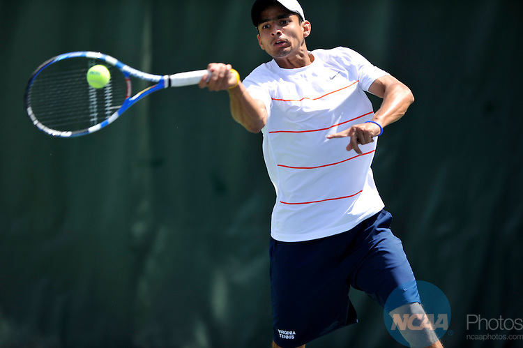 24 MAY 2011:  Sanam Singh of the University of Virginia returns a volley against the University of Southern California during singles play at the Division I Men's Tennis Championship held at the Taube Family Tennis Center on the Stanford University  campus in Stanford, CA. Southern California defeated Virginia 4-3 to win the national team title.  Brett Wilhelm/NCAA Photos