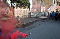 Roma 11 Aprile  2012.Manifestazione No Tav in  solidarieta' con  gli abitanti della Val Susa..I No Tav  occupano la sede logistica di Ferrovie dello Stato allo scalo di San Lorenzo