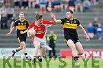 Caoimhin O Beaglaoich West Kerry and Daithi Casey Dr Crokes in action during  their SFCC clash in Lewis Road on Saturday