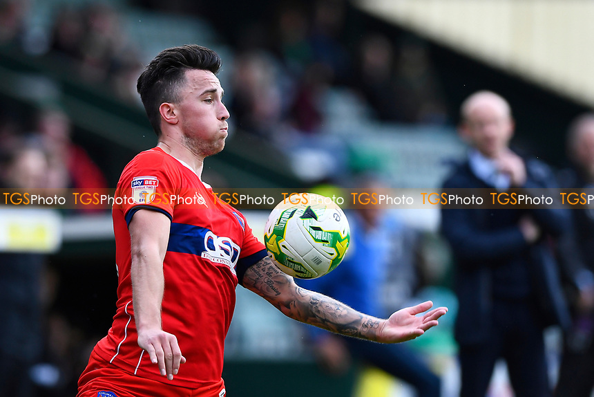 John O'Sullivan of Carlisle United controls the ball as Yeovil Town Manager Darren Way looks on during Yeovil Town vs Carlisle United, Sky Bet EFL League 2 Football at Huish Park on 1st April 2017