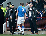 Jon Daly taken off with a hamstring injury