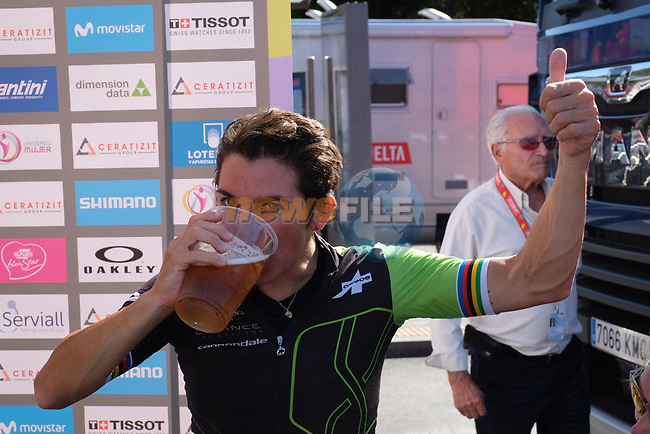 Giorgia Bronzini (ITA) Cylance Pro Cycling cools down with a well earned drink after winning Stage 2 of the Madrid Challenge by La Vuelta 2018, running 98.6km around the streets of Madrid, Spain. 16th September 2018.                   <br /> Picture: Unipublic/Vicent Bosch | Cyclefile<br /> <br /> <br /> All photos usage must carry mandatory copyright credit (© Cyclefile | Unipublic/Vicent Bosch)