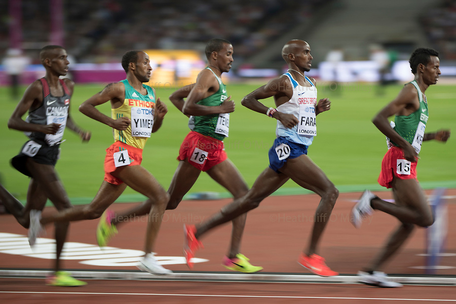 Mcc0078114 . Daily Telegraph<br /> <br /> DT Sport<br /> <br /> Mo Farrah running in the Mens 10,000m final<br /> <br /> Day 1 of the IAAF World Championships at the London Stadium in Stratford .<br /> <br /> 4 August 2017