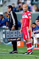 Newly acquired Freddie Ljungberg now with the Chicago Fire is ready to enter the game. The Chicago Fire beat the LA Galaxy 3-2 at Home Depot Center stadium in Carson, California on Sunday August 1, 2010.