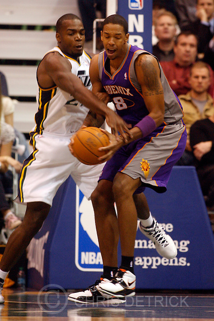 Chris Detrick  |  The Salt Lake Tribune .Utah Jazz power forward Paul Millsap #24 and Phoenix Suns center Channing Frye #8 during the first half of the game Thursday October 28, 2010.  Phoenix is winning the game 58-42.