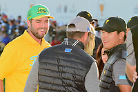 Marc Leishman (AUS) and Hideki Matsuyama (JPN) chat with Louis Oosthuizen (RSA) before the trophy presentation following round 4 Singles of the 2017 President's Cup, Liberty National Golf Club, Jersey City, New Jersey, USA. 10/1/2017. <br /> Picture: Golffile | Ken Murray<br /> <br /> All photo usage must carry mandatory copyright credit (&copy; Golffile | Ken Murray)