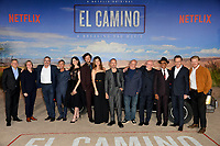 "LOS ANGELES, USA. October 08, 2019: Ted Sarandos, Cindy Holland, Vince Gilligan, Charles Baker, Krysten Ritter, Matt Jones, Betsy Brandt, Aaron Paul, Dean Norris, Jonathan Banks, Giancarlo Esposito, Bryan Cranston & Jesse Plemons at the premiere of ""El Camino: A Breaking Bad Movie"" at the Regency Village Theatre.<br /> Picture: Paul Smith/Featureflash"