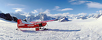 Ski plane on Ruth Glacier below Mt. McKinley - Denali. Talkeetna Alaska United States Mt. McKinley - Ruth Glacier.