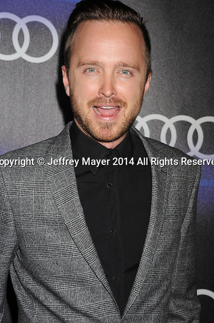 LOS ANGELES, CA- AUGUST 21: Actor Aaron Paul arrives at the Audi Emmy Week Celebration at Cecconi's Restaurant on August 21, 2014 in Los Angeles, California.