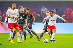 07.10.2018, Red Bull Arena, Leipzig, GER, 1. FBL 2018/2019, RB Leipzig vs. 1. FC N&uuml;rnberg/Nuernberg,<br /> <br /> DFL REGULATIONS PROHIBIT ANY USE OF PHOTOGRAPHS AS IMAGE SEQUENCES AND/OR QUASI-VIDEO.<br /> <br /> im Bild<br /> <br /> <br /> Yussuf Poulsen (#9, RB Leipzig), Federico Palacios (#21, 1. FC Nuernberg), <br /> <br /> Foto &copy; nordphoto / Dostmann