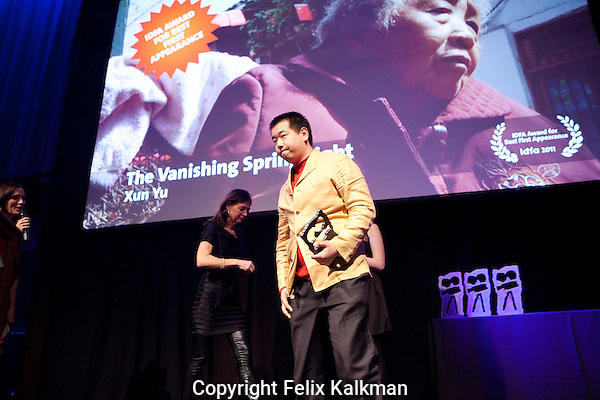Amsterdam, 25 november 2011.International Documentary Filmfestival Amsterdam.IDFA Awards at Escape Club.Xun Yu.IDFA Award First Appearance for 'The Vanishing Spring Light'.Photo by Felix Kalkman