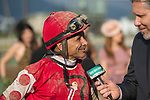 ARCADIA, CA  APRIL 7:  Mike Smith is all smiles after winning the Santa Anita Oaks (Grade l) aboard #3 Midnight Bisou on April 7, 2018, at Santa Anita Park in Arcadia, Ca.  (Photo by Casey Phillips/ Eclipse Sportswire/ Getty Images)