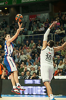 Real Madrid´s Ioannis Bourousis and Anadolu Efes´s Matt Janning during 2014-15 Euroleague Basketball match between Real Madrid and Anadolu Efes at Palacio de los Deportes stadium in Madrid, Spain. December 18, 2014. (ALTERPHOTOS/Luis Fernandez) /NortePhoto /NortePhoto.com