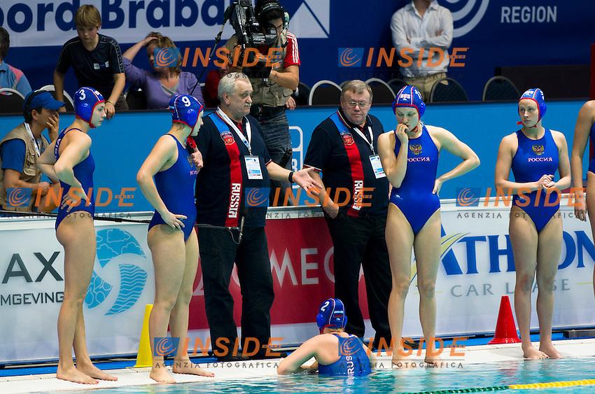 Eindhoven , Netherlands (Netherlands ) 28/1/2012.LEN European  Water Polo Championships 2012.Day 13 - Women.Hungary  (White) - Russia  (Blue)..RUS.1 KOVTUNOVSKAYA Maria.2 FEDOTOVA Nadezhda.3 PROKOFYEVA Ekaterina.4 KONUKH Sofya.5 KUROCHKINA Victoria.6 BELOVA Olga.7 LISUNOVA Ekaterina.8 KHOKHRIAKOVA Evgeniia.9 TANKEEVA Ekaterina.10 BELIAEVA Olga.11 IVANOVA Evgeniya.12 ANTONOVA Diana.13 KARNAUKH Anna..Photo Insidefoto / Giorgio Scala