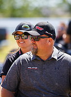 Apr 23, 2017; Baytown, TX, USA; NHRA pro stock team owner Richard Freeman with driver Erica Enders-Stevens during the Springnationals at Royal Purple Raceway. Mandatory Credit: Mark J. Rebilas-USA TODAY Sports