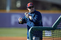 NJIT Highlanders assistant coach Grant Neary throws batting practice prior to the game against the High Point Panthers at Williard Stadium on February 18, 2017 in High Point, North Carolina. The Panthers defeated the Highlanders 11-0 in game one of a double-header. (Brian Westerholt/Four Seam Images)