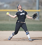 Western Nevada's Makaylee Jaussi throws to first against Colorado North Western at Edmonds Sports Complex Carson City, Nev., on Friday, March 18, 2016.<br /> Photo by Jeff Mulvihill, Jr.