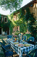 Lunch is laid on a green and white gingham cloth on a long table in the shade of a large tree to the rear of the house
