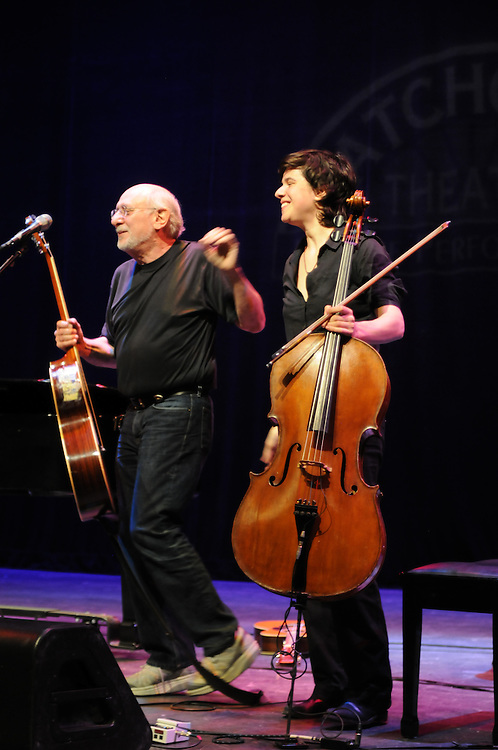 Peter Yarrow, and cellist, Julia Biber,  taking a bow at the 3rd Annual Patchogue Folk Music Festival, at the Patchogue Theater for the Performing Arts (71 Main Street) in Patchogue, NY on Saturday, April 9, 2011. Photo by Jim Peppler. Copyright Jim Peppler/2011.