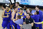 SIOUX FALLS, SD: MARCH 7: The South Dakota State University Jackrabbits storm the court following their 79-77 win over Omaha in the Men's Summit League Basketball Championship Game on March 7, 2017 at the Denny Sanford Premier Center in Sioux Falls, SD. (Photo by Dick Carlson/Inertia)