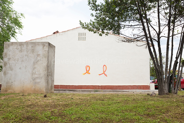 Pro-independence graffiti - supporting Catalan political prisoners,  Sant Cugat del Valles, Catalonia