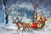Interlitho, Patricia, CHRISTMAS SANTA, SNOWMAN, paintings, santa, forest, sleigh(KL5747,#X#) Weihnachtsmänner, Schneemänner, Weihnachen, Papá Noel, muñecos de nieve, Navidad, illustrations, pinturas