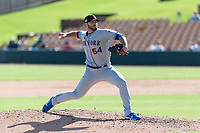 Scottsdale Scorpions relief pitcher Joe Zanghi (54), of the New York Mets organization, delivers a pitch during an Arizona Fall League game against the Glendale Desert Dogs at Camelback Ranch on October 16, 2018 in Glendale, Arizona. Scottsdale defeated Glendale 6-1. (Zachary Lucy/Four Seam Images)