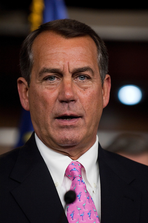 WASHINGTON, DC - April 22: House Minority Leader John A. Boehner, R-Ohio, during a news conference introducing a resolution inviting House Democrats to join Republicans in a ban on earmarks for one year, and to use the predicted savings against the deficit. (Photo by Scott J. Ferrell/Congressional Quarterly)
