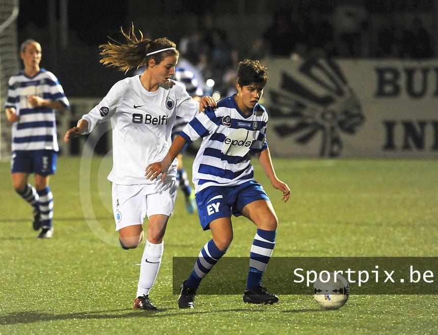 AA Gent dames - Club Brugge dames :<br /> Nicky Van Den Abbeele (L) probeert de bal te veroveren op Isabelle Iliano (R)<br /> foto Dirk / Nikonpro.be