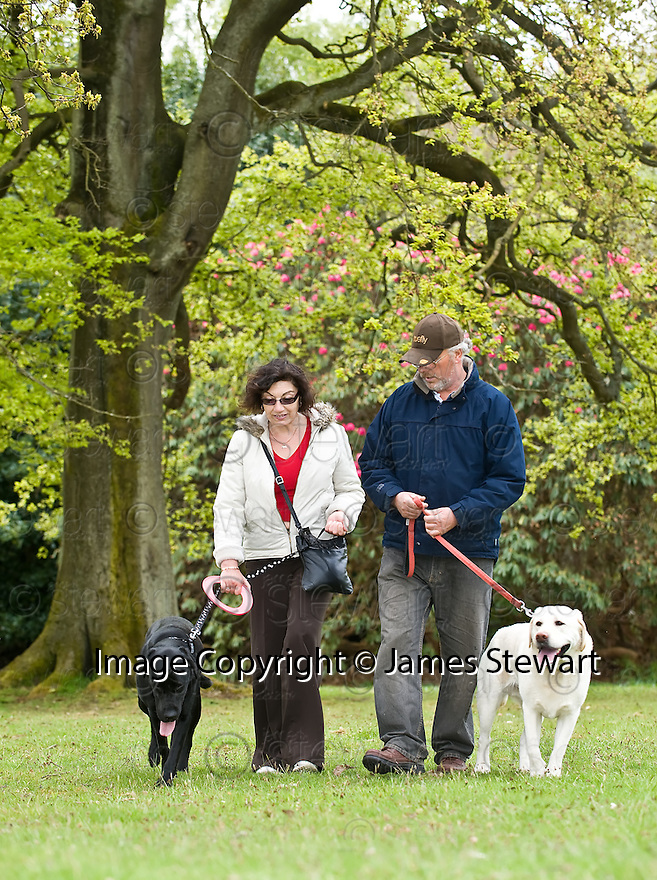 13/05/2010   Copyright  Pic : James Stewart.008_woodland_walks  .::  NHS FORTH VALLEY ROYAL HOSPITAL :: WOODLAND WALKS :: ROSANNA CONNOLLY  WALKS HER DOG, RAMSAY, THROUGH THE WOODLAND WALK NEAR LARBERT HOUSE WITH  JOE WALLACE AND HIS DOG, BAILEY   ::