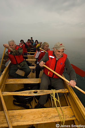 Group trip in a Voyageur canoe on Lake Superior.