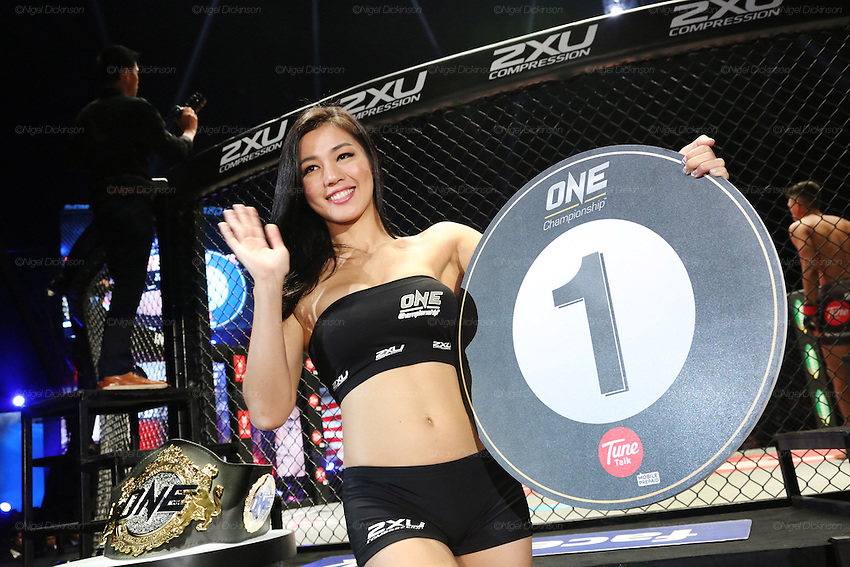 Ring girl walks around the cage announcing first round<br /><br />MMA. Mixed Martial Arts &quot;Tigers of Asia&quot; cage fighting competition. Top professional male and female fighters from across Asia, Russia, Australia, Malaysia, Japan and the Philippines come together to fight. This tournament takes place in front of a ten thousand strong crowd of supporters in Pelaing Stadium. Kuala Lumpur, Malaysia. October 2015