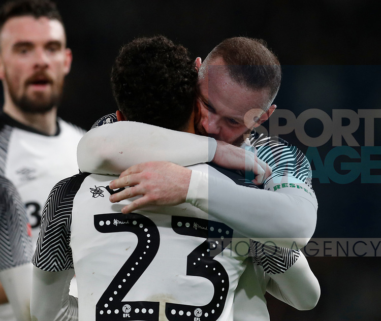 Wayne Rooney of Derby County celebrates with second goal scorer Duane Holmes of Derby County during the FA Cup match at the Pride Park Stadium, Derby. Picture date: 4th February 2020. Picture credit should read: Darren Staples/Sportimage