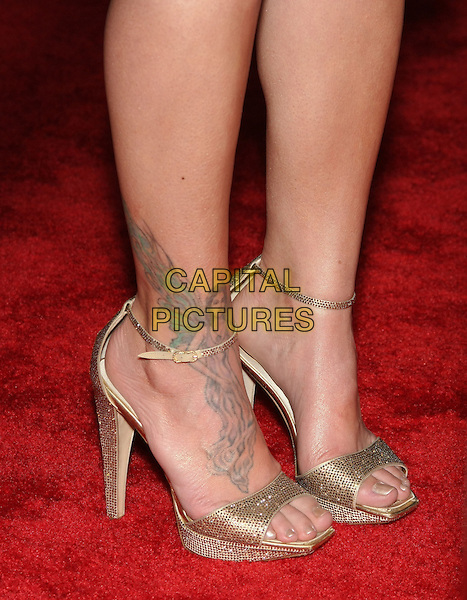 JILLIAN MICHAELS' shoes ('The Biggest Loser').The 2010 NBC, Universal Pictures & Focus Features' Annual Golden Globes After-Party at the Beverly Hilton, Beverly Hills, CA, USA.                                                                         January 17th, 2010.globes feet heels ankle strap silver sold open toe tattoo.CAP/LNC/AM.©Alba Montes/LNC/Capital Pictures