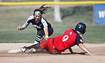 Western Nevada's Gabrielle Canibeyaz tags the runner against Colorado Northwestern at Edmonds Sports Complex Carson City, Nev., on Friday, March 18, 2016.<br />
