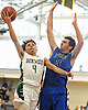 Kenny Lazo #4 of Brentwood, left, drives to the net as John Riggio #20 of Copiague guards him during a game in the Gary Charles Hoop Classic at Adelphi Unversity on Sunday, Jan. 8, 2017. Brentwood won by a score of 65-61.