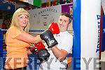 Its a Knock Out Toireasa Ferris,and Cathal Foley launch  the White Collar boxing fundraising night in aid of the Kerry cancer support group, which will be held on the 13th of August in the Dome at   St. Margarets Boxing Club on Thursday