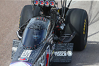 Feb 21, 2015; Chandler, AZ, USA; NHRA top fuel driver Antron Brown during qualifying for the Carquest Nationals at Wild Horse Pass Motorsports Park. Mandatory Credit: Mark J. Rebilas-
