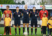 20140410 - LEUVEN , BELGIUM : German Referees and both captains pictured with Belgian Aline Zeler (left) , Marina Wozniak , Bibiana Steinhaus , Katrin Rafalski and Norway Ingvild Stensland (right)   during the female soccer match between Belgium and Norway, on the seventh matchday in group 5 of the UEFA qualifying round to the FIFA Women World Cup in Canada 2015 at Stadion Den Dreef , Leuven . Thursday 10th April 2014 . PHOTO DAVID CATRY