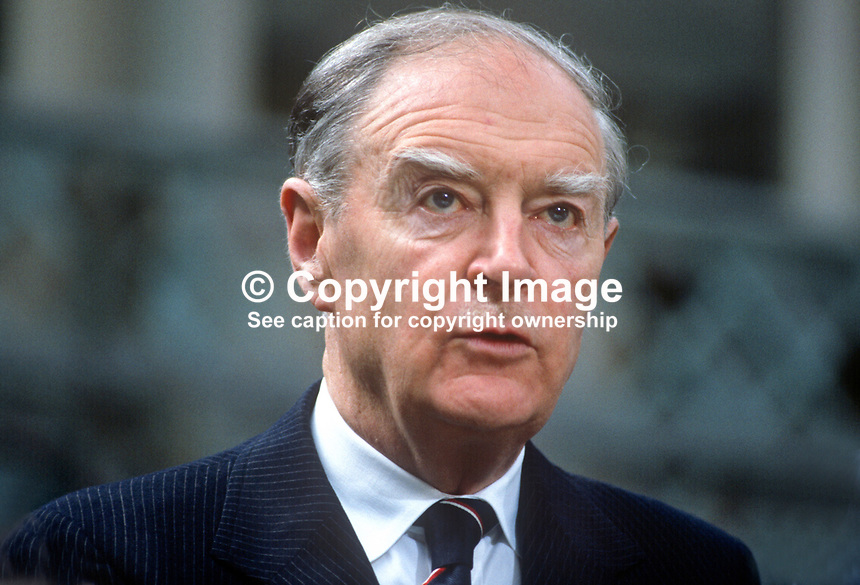 Liam Cosgrave, TD, leader, Fine Gael, political party, Rep of Ireland. Was Taoiseach, prime minister, March 1973 to July 1977. Ard Fhies, annual party conference, 198103000058LC1..Copyright Image from Victor Patterson, 54 Dorchester Park, Belfast, United Kingdom, UK...For my Terms and Conditions of Use go to http://www.victorpatterson.com/Victor_Patterson/Terms_%26_Conditions.html