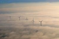 Windkraft im Nebel: DEUTSCHLAND, HAMBURG, (GERMANY), 28.11.2003: Windkraftanlagen ragen aus dem Nebel,  Deutschland, Hamburg, Windkraftwerke, Subventionen, alternative, Energie, Luftbild, Luftaufname, Uebersicht, Ueberblick, alternative, Energie, Norddeutschland, Landschaft, Windkraft, Windenergie, Windkraftanlage, regenerativ, regenerative, Windenergie, Wind, Energie, Kraft, Windkraftwerk, umweltschonend, umweltfreundlich, Stromleitung, Elektrizitaet, alternativ, Alternative, Energiegewinnung, Gewinnung, Kraftwerk, Ressourcen, Generator, Generatoren, Windgenerator, Windgeneratoren, Windrad, Windraeder, Umwelt, Wetter, Technik, Recycling, Technologie, Wirtschaft, Kraftanlagen, Rotor, Regenerative, Windmuehle, Sturm, Luft, Energien, Oeko, Oekologie, Oekostrom, Strom, Stromerzeugung, Energieerzeugung, Windenergieanlagen, Windmuehlen, Subventionieren, Subvention, Bergedorf, Vier, und, Marschlande, Ochsenwerder, Himmel, Nebel, Wolke, Wolken, Sonne,  aerial photograph, agency, air, alternate, alternative, alternative one, alternatively, bounty, cloud, clouds, countryside, current, digest, ecofriendly, ecology, economy, electricity, energies, energy, energy production, engineering, environment, environment-friendly, environmentalcarefully, environmentally friendly, flow, fog, force, four, gale, generation of current, generator, generators, germany, gush, gustiness, hamburg, haze, heaven, landscape, mist, mists, non-polluting, northern germany, oversight, overview, power, power generation, power production, power station, production, puissance, regenerativ, regenerative, renewable, resources, sky, storm, stream, strength, subsidies, subsidy, subvention, sun, survey, synopsis, technique, technology, tempest, territory, turbulency, verdure, vigor, vigors, vigour, vigours, vis, weather, wind, wind energy, wind force, wind generator, wind generators, wind mill, wind mills, wind power station, wind power stations, windmill,