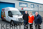 Kieran Murphy, Driver and mechanic, Deirdre Burke, Adminand Sales and Managing Director, Frank Delaney  Manlift Hire Ltd Monavalley Tralee