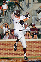 Texas A&M Aggie first baseman Jacob House #27 at bat during the NCAA Tournament Regional baseball game against the Dayton Flyers on June 1, 2012 at Blue Bell Park in College Station, Texas. The Aggies defeated the Flyers 4-1. (Andrew Woolley/Four Seam Images).