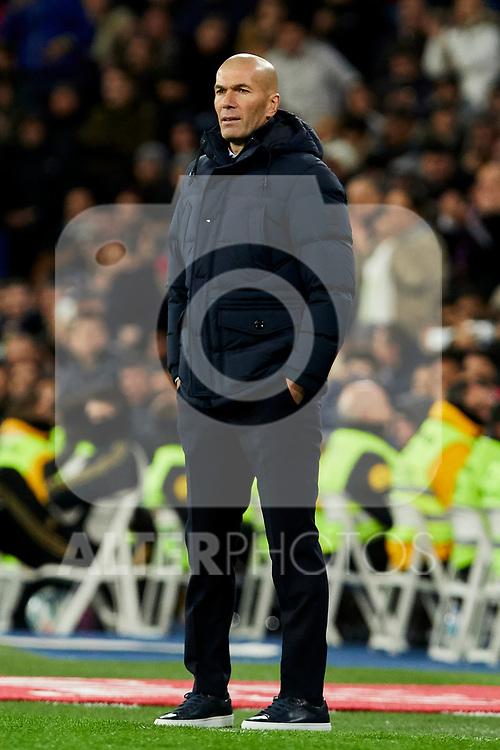 Zinedine Zidane coach of Real Madrid during La Liga match between Real Madrid and Real Sociedad at Santiago Bernabeu Stadium in Madrid, Spain. November 23, 2019. (ALTERPHOTOS/A. Perez Meca)