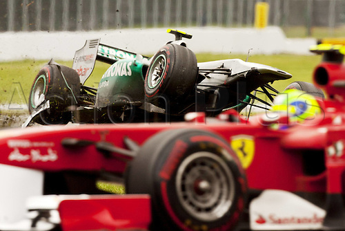 12.06.2011 Canadian Formula One Grand Prix from the Circuit Gilles Villeneuve. Picture shows Nico Rosberg of Germany crashing out.