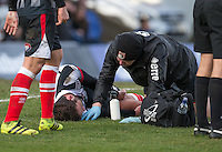 Gavin Gunning of Grimsby Town lays unconscious after a head injury in the lead up to Wycombe's winning goal  during the Sky Bet League 2 match between Grimsby Town and Wycombe Wanderers at Blundell Park, Cleethorpes, England on 4 March 2017. Photo by Andy Rowland / PRiME Media Images.