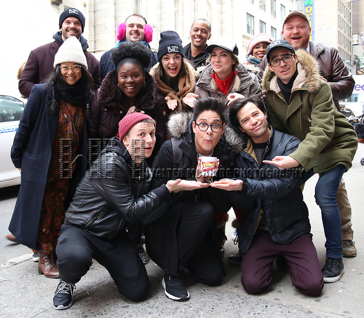 "The Cast of ""Be More Chill"" during the Theatre Marquee unveiling for ""Be More Chill"" on January 17, 2019 at the Lyceum Theatre in New York City."